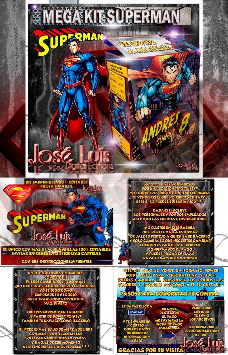 Kit Imprimible Superman Invitaciones Y Mas Jose Luis