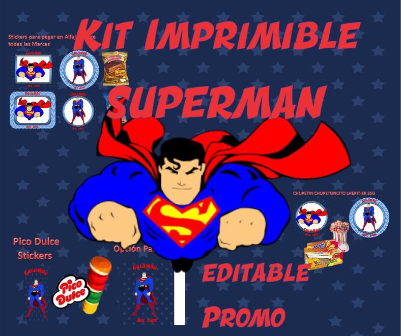 Kit Imprimible Superman Superheroe Heroe Avengers Candy S67