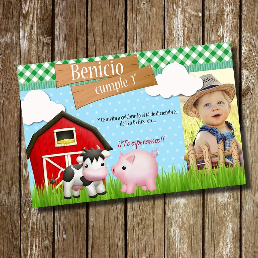 Kit Imprimible Tarjeta De Invitación Cumpleaños Granja Niño