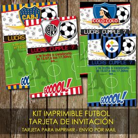 Kit Imprimible Tarjeta De Invitación Futbol Equipos