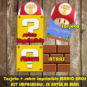 Kit Imprimible Tarjeta De Invitación Mario Bros