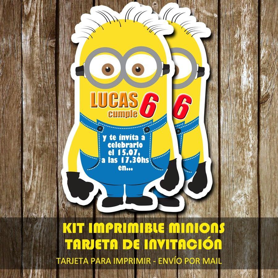 Kit Imprimible Tarjeta De Invitación Minions