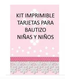 Kit Imprimible Tarjetas Bautizo Niños Niñas Invitaciones Pe