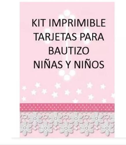 kit imprimible tarjetas bautizo niños niñas invitaciones_pe