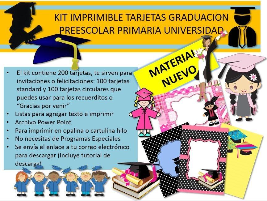kit imprimible tarjetas de graduacion graduaciones