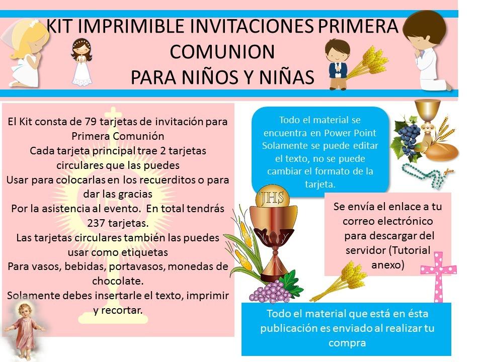 Kit Imprimible Tarjetas De Invitacion Primera Comunion Bs 50100