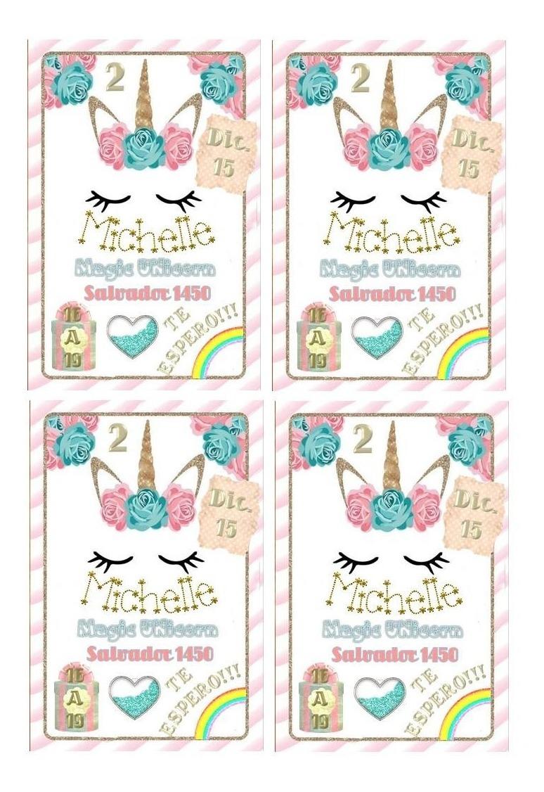 Kit Imprimible Tarjetas Invitación Editable Unicornios A4 X4