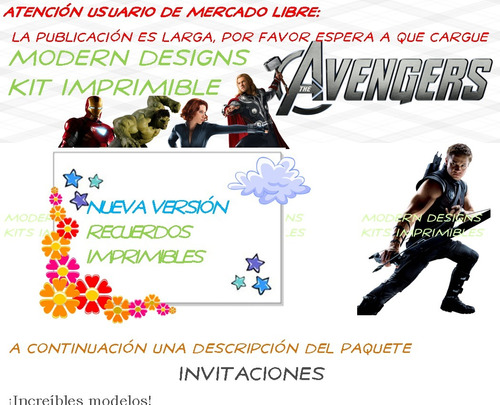 kit imprimible the avengers adornos invitaciones y+