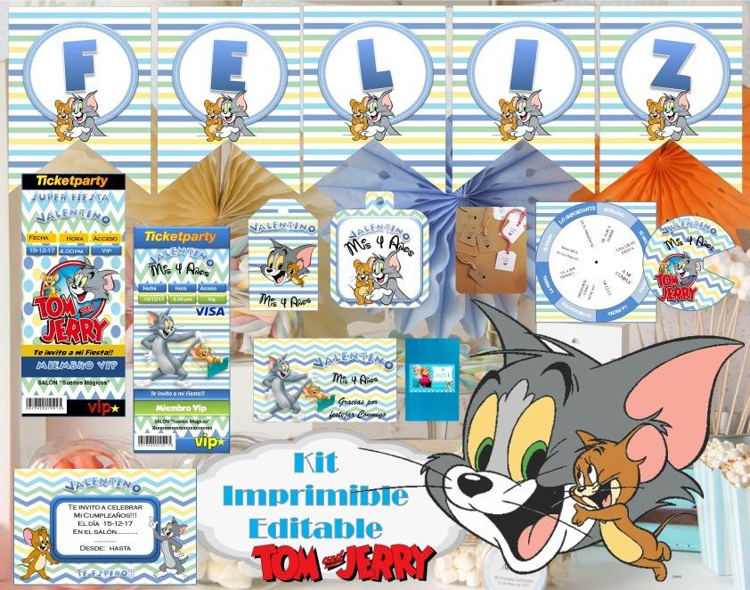 Kit Imprimible Tom Y Jerry Editable Candy Bar Tarjeta Foto