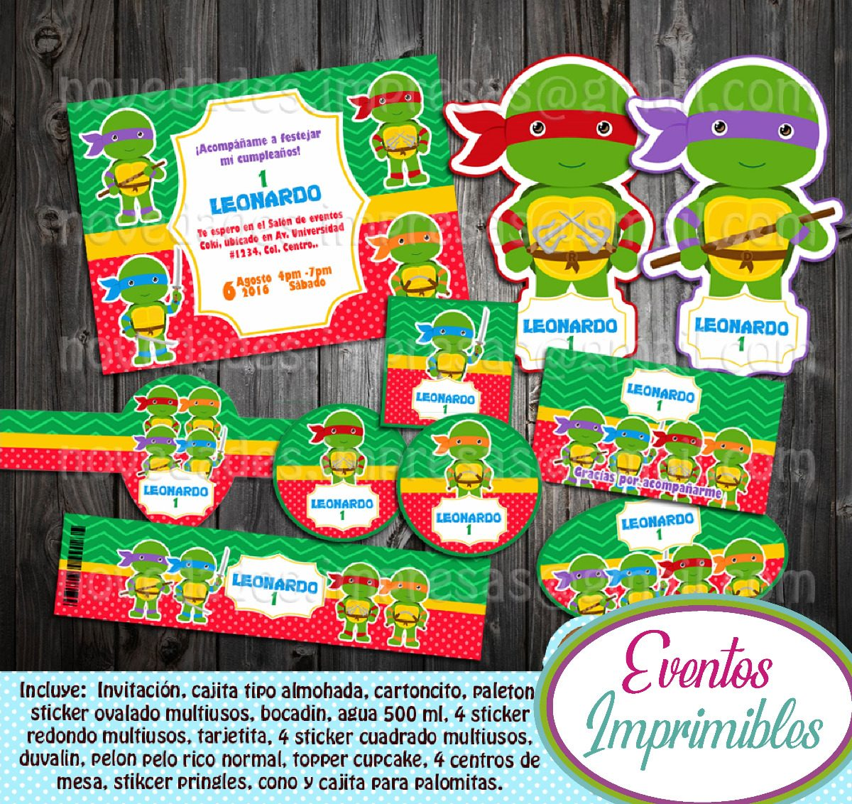 Kit Imprimible Tortugas Ninja Baby Candy Bar Invitaciones