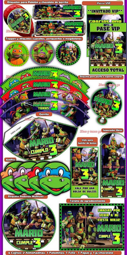 kit imprimible tortugas ninja cotillón 100% editable 2x1