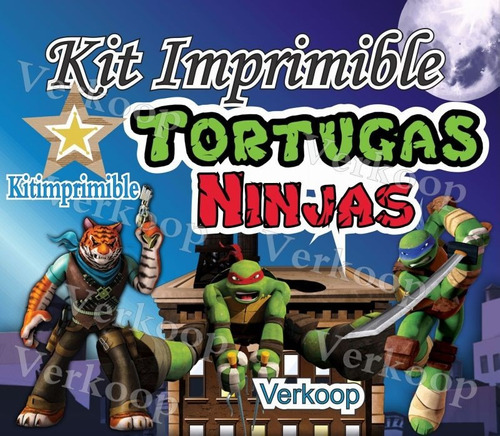 kit imprimible tortugas ninja imagenes marcos frames tarjeta