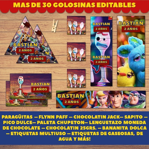 kit imprimible toy story 4 candy bar editable 2019 forky