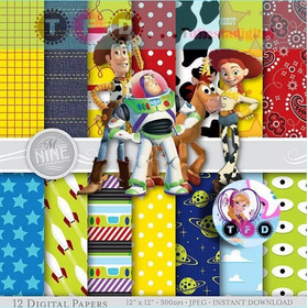 Kit Imprimible Toy Story Pack Papel Digital Fondos Clipart