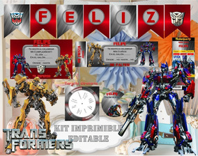 Kit Imprimible Transformers 3 Candy Bar Editable Cumple 21