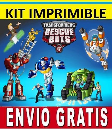 kit imprimible transformers rescue bots  para invitaciones