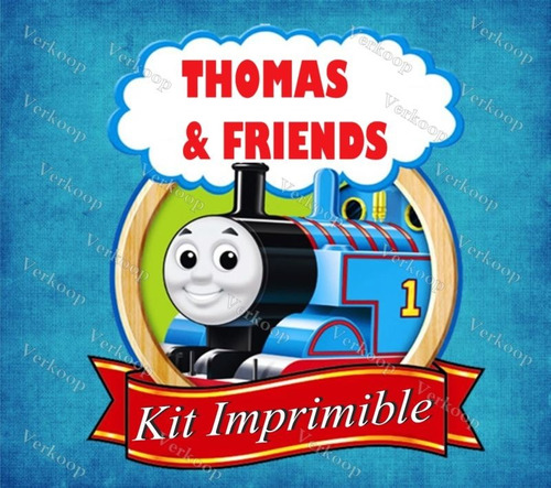 kit imprimible tren thomas amigos invitaciones tarjetas