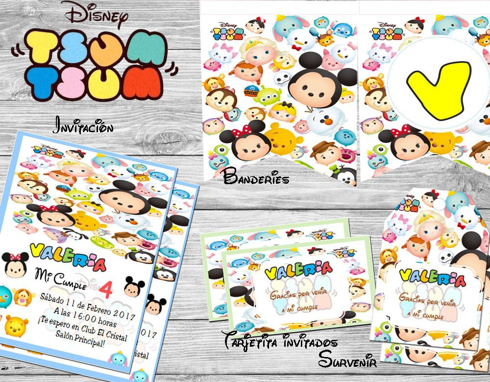 Kit Imprimible Tsum Tsum Disney Invitaciones Candy Bar - $ 55,00 en ...