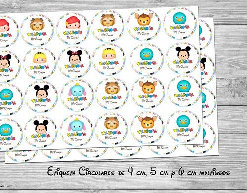 kit imprimible tsum tsum disney invitaciones candy bar