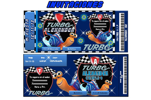 kit imprimible turbo, invitaciones,tarjetas;fiesta, cnv13