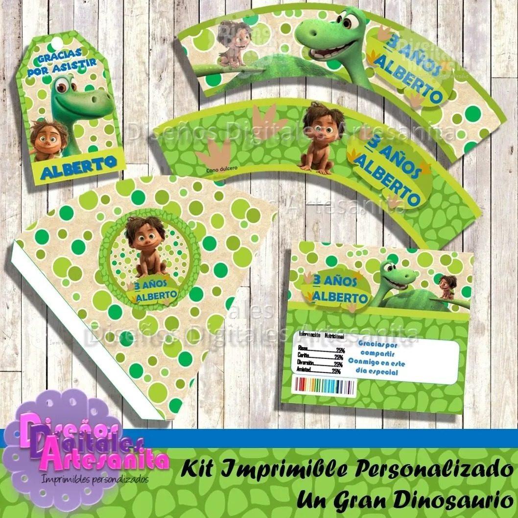 Kit Imprimible Un Gran Dinosaurio Personalizado Invitación