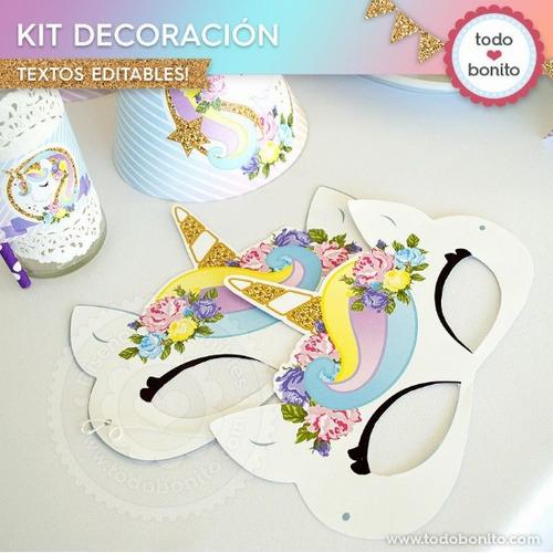 kit imprimible unicornio
