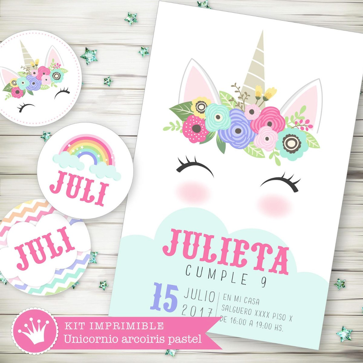Kit Imprimible Unicornio Arcoiris Pastel Candy Invitación 3 - $ 345 ...