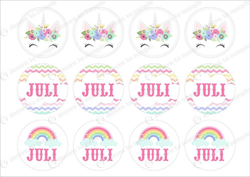 Kit Imprimible Unicornio Arcoiris Pastel Candy Invitación 3 - $ 330 ...