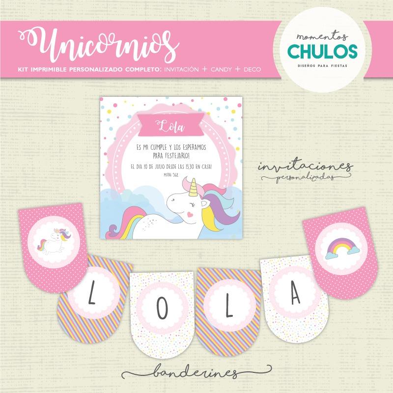 Kit Imprimible Unicornio Candy Bar Decoración Personalizado - $ 295 ...