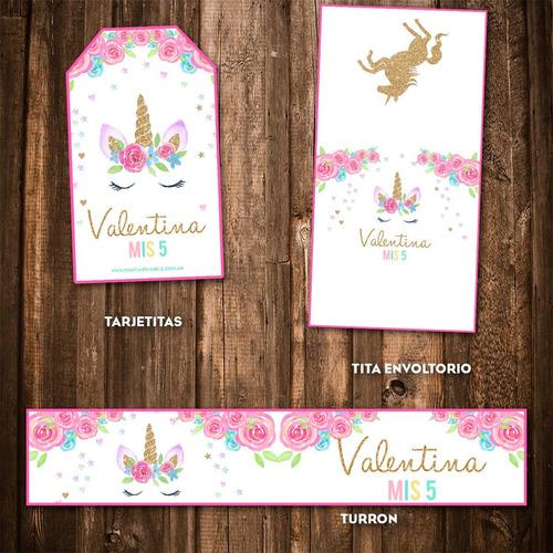 kit imprimible unicornio candy bar personalizado dorado