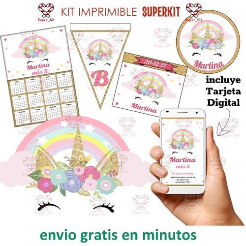 kit imprimible unicornio dorado promo 2x1 2020 superkit