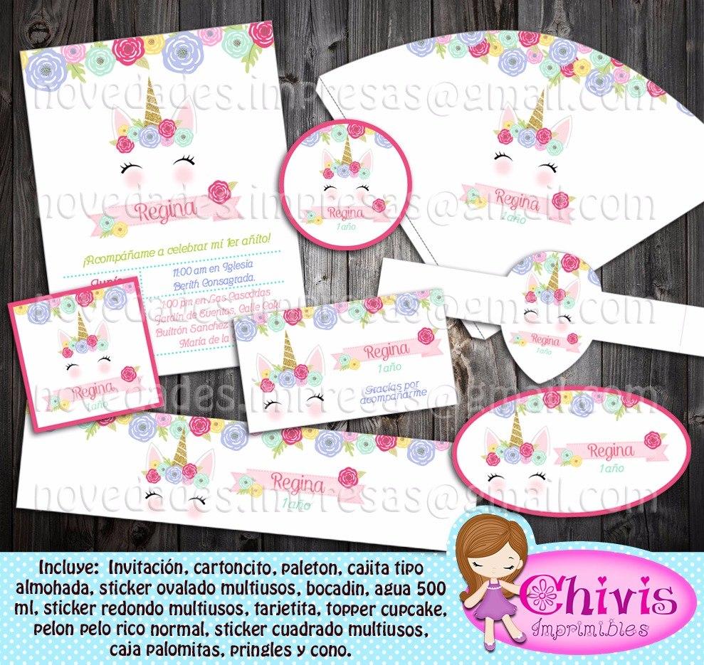Kit Imprimible Unicornio Para Cumpleaños - $ 100.00 en Mercado Libre