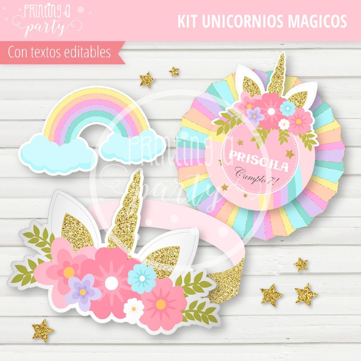 Kit Imprimible Unicornios Arcoiris Pastel Editable Pizarra - $ 300 ...