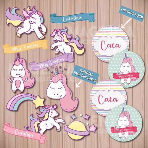 kit imprimible unicornios, cumpleaños, fiestas