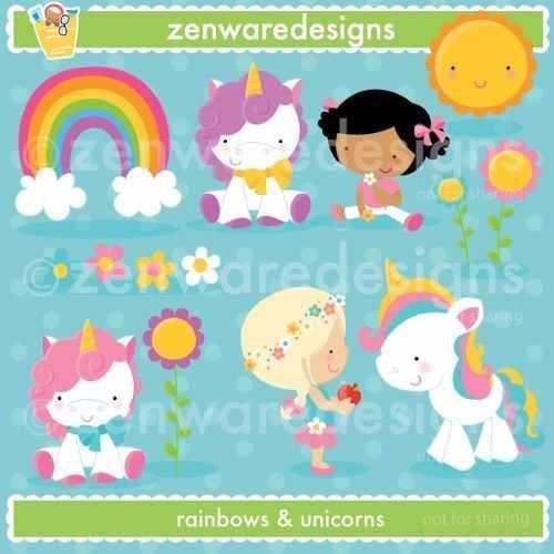 kit imprimible unicornios y arcoiris 2 imagenes clipart