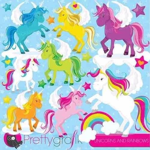 kit imprimible unicornios y arcoiris imagenes clipart