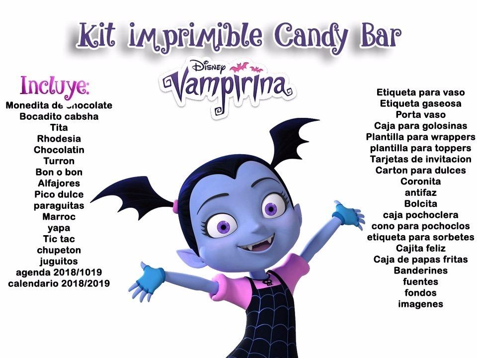 Kit Imprimible Vampirina Disney Cotillón Candy Bar - $ 1.990 en ...
