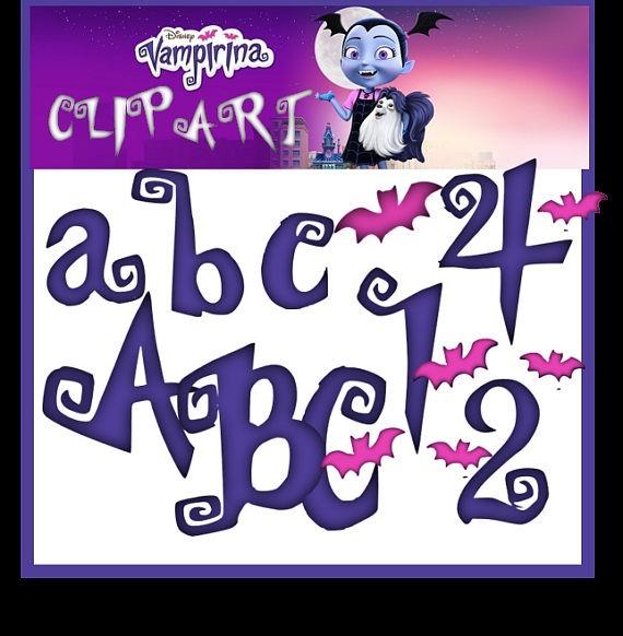 Kit Imprimible Vampirina Letras + Numeros Clipart+papeles