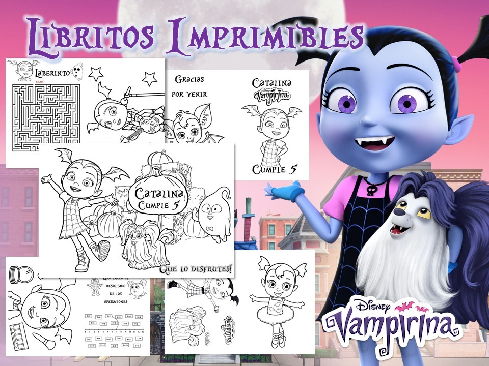 Kit Imprimible Vampirina Libritos Colorear Pintar Souvenir