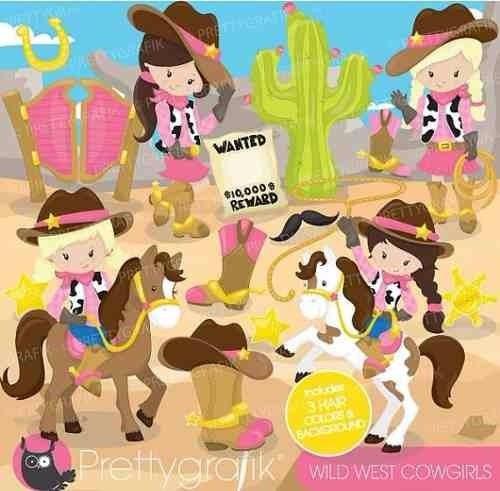 kit imprimible vaqueros cowgirl imagenes clipart