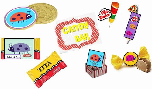 kit imprimible vaquita de san antonio: invitaciones candy