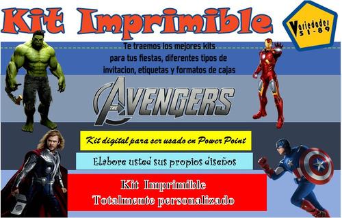 kit imprimible vengadores,tarjeta,invitacion,fiesta,diseño