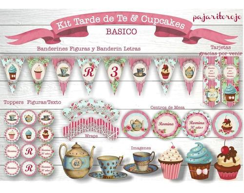 kit imprimible vintage te & cupcakes!