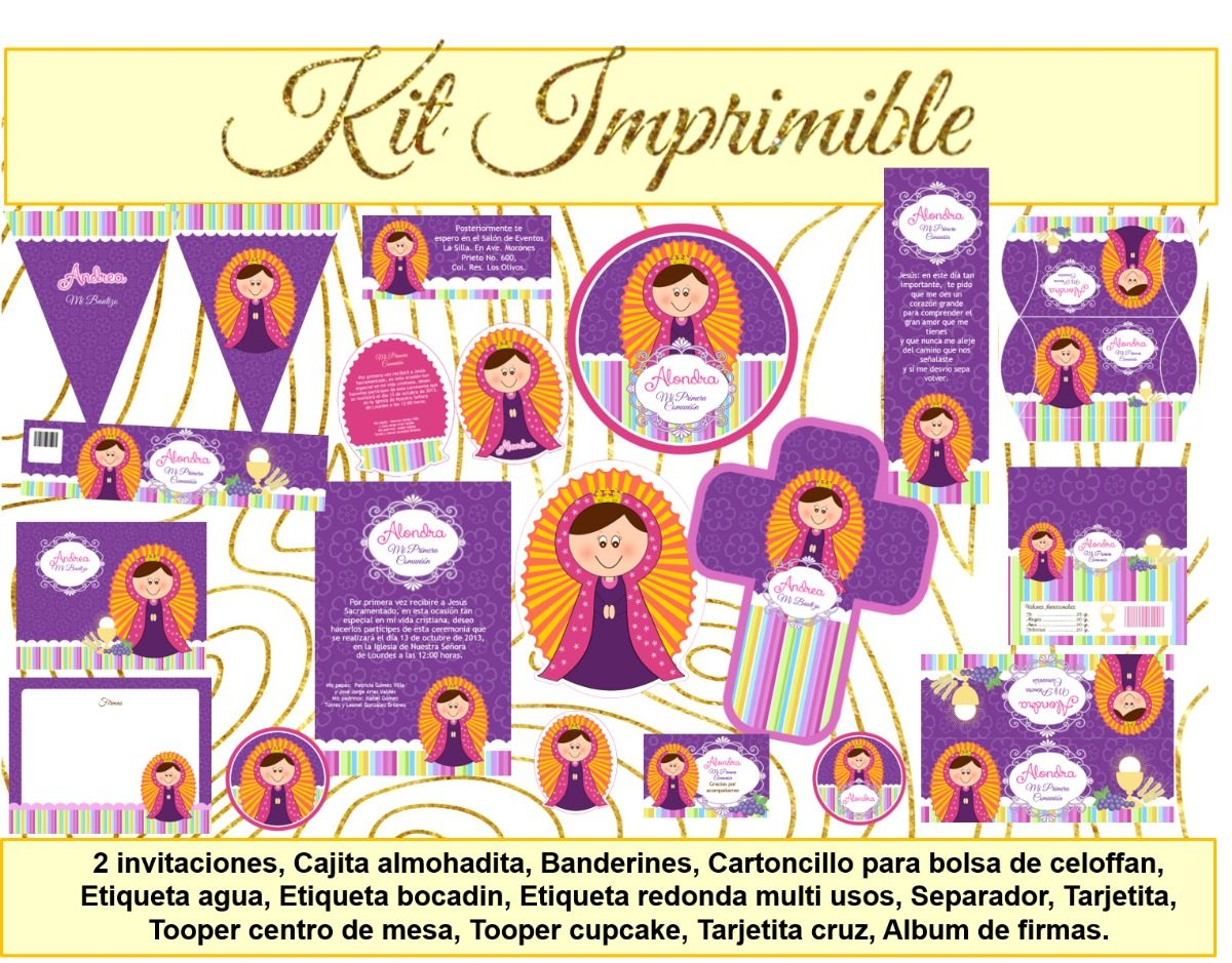 Kit Imprimible Virgencita Etiquetas Invitación Cajitas Album ...