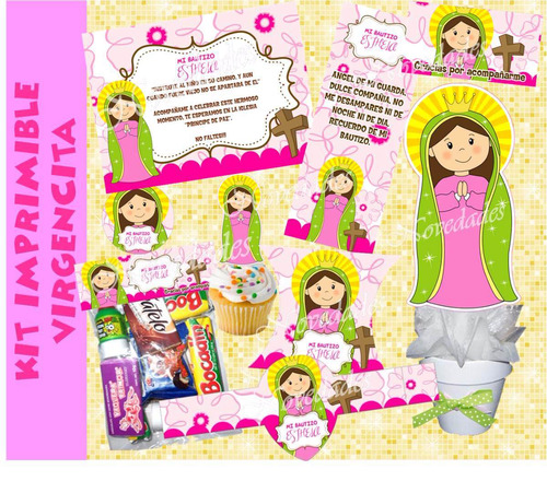 kit imprimible virgencitas bautizo comunion baby shower 4