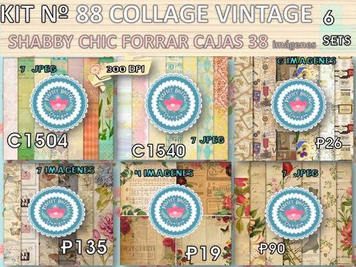 kit imprimible x 6 set 38 fondos collage p/ forrar caja lata