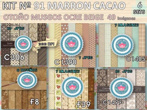 kit imprimible x 6 set 49 diseños marrón p/ cajitas latitas