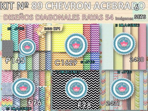 kit imprimible x 6 set 54 diseños chevron p/ autoadhesivos