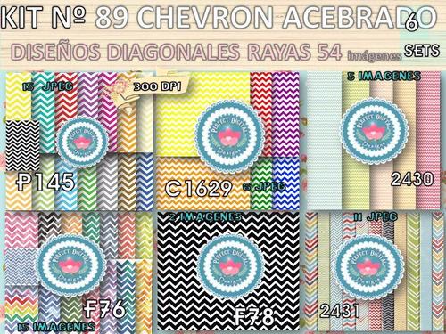 kit imprimible x 6 set 54 diseños chevron p/ golosinas envol
