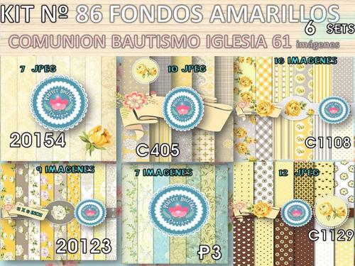kit imprimible x 6 set 61 fondos amarillos p/ souvenirs tags